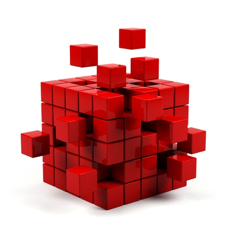 abstract 3d blocks: abstract 3d illustration of cube assembling from blocks