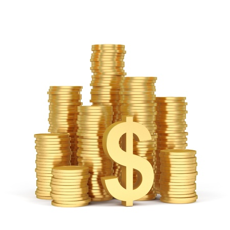 earn money: Stacks of gold coins on a white background. Stock Photo