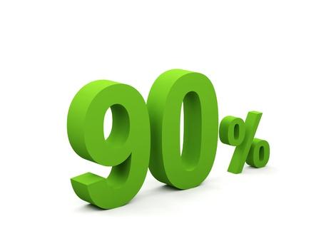 90: 90 percent isolated on white background. 90%  Stock Photo