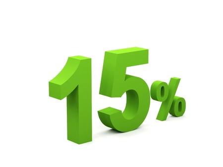 15 percent isolated on white background. 15%  Stock Photo