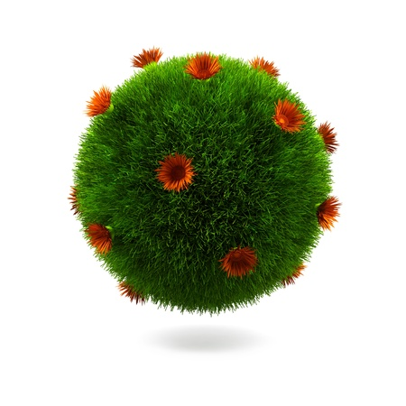 Grass sphere isolated on a white background. Stock Photo - 15381256