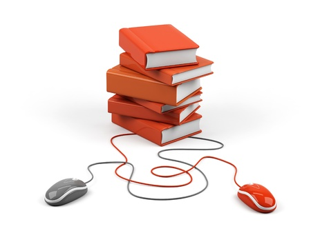 elearning: Computer mouse and books - e-learning concept. 3d image. Stock Photo