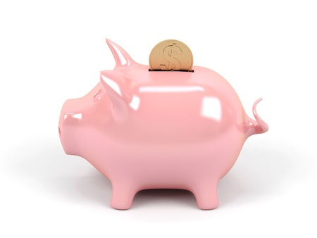 mortgage rates: Piggy bank on a white background.