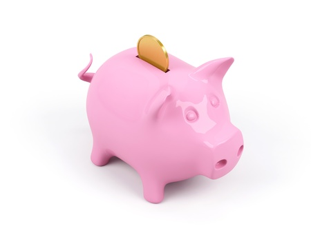 white interest rate: Piggy bank on a white background.