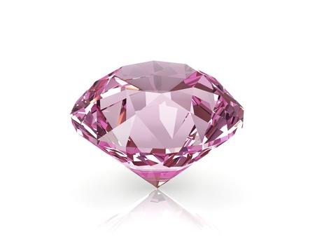 glans: Diamant kristall isolerad på vit bakgrund.
