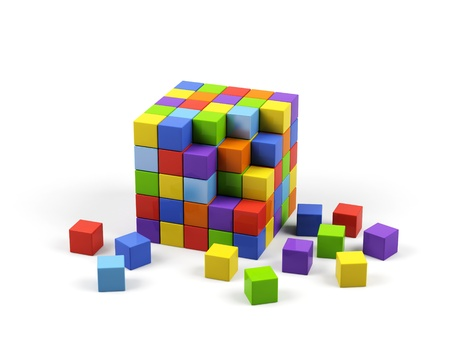Colorful cubes on a white background.