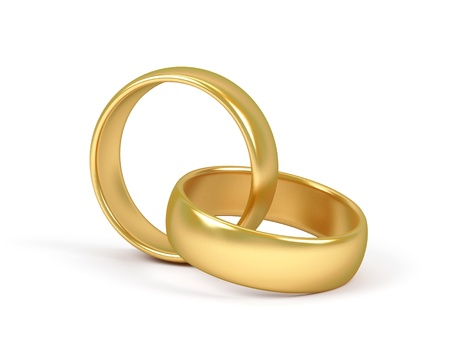 Two wedding ring on a white background.