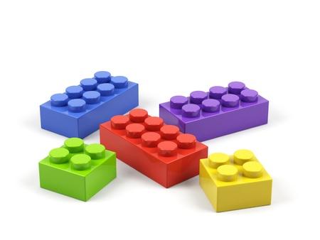 color block: Plastic toy blocks on white background.
