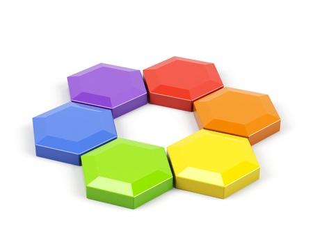 Hexagonal color wheel on a white.