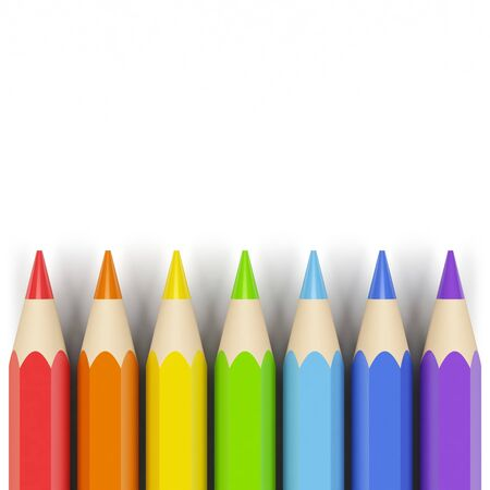 a small painting: Colored pencils. Stock Photo