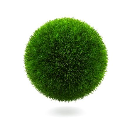 blank button: Grass sphere isolated on a white background.