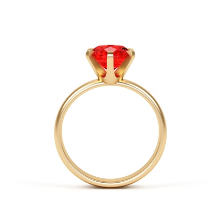 ruby stone: Jewellery ring isolated on a white background.