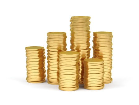 Stacks of gold coins on a white background. 스톡 콘텐츠