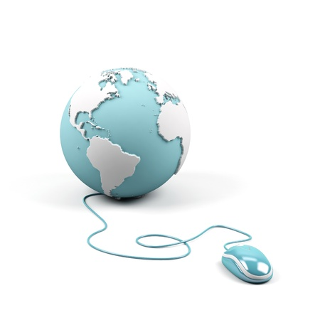 Computer mouse connected to a globe.