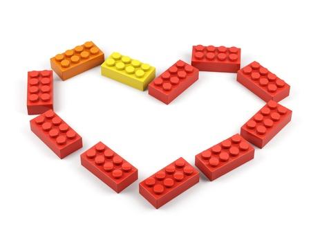 Heart from plastic toy blocks  Stockfoto