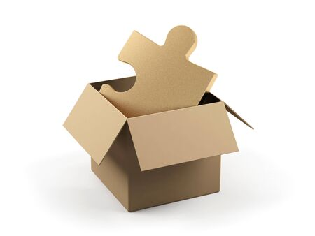 paper product: Cardboard box with puzzle on a white background  Stock Photo