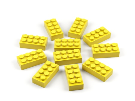 Sun from plastic toy blocks. Stock Photo - 15536511