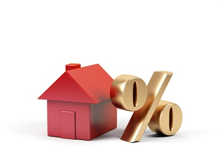 housing crisis:  House and percent symbol. 3d image.