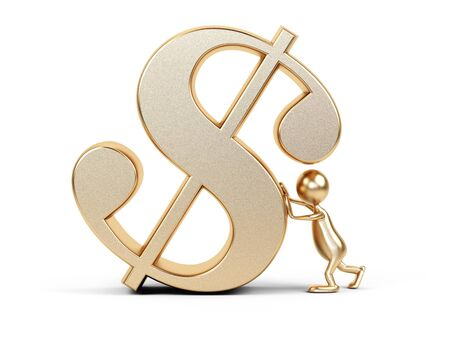 unreliable: 3d cartoon man with dollar symbol. Stock Photo