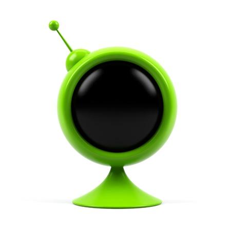 fuse box: Round television isolated on white background. Stock Photo