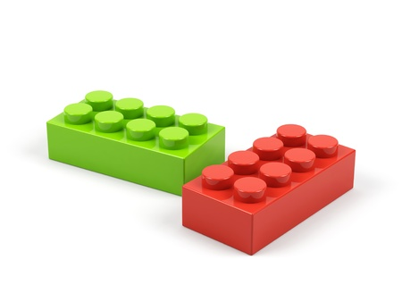 connection block: Plastic toy blocks on white background.