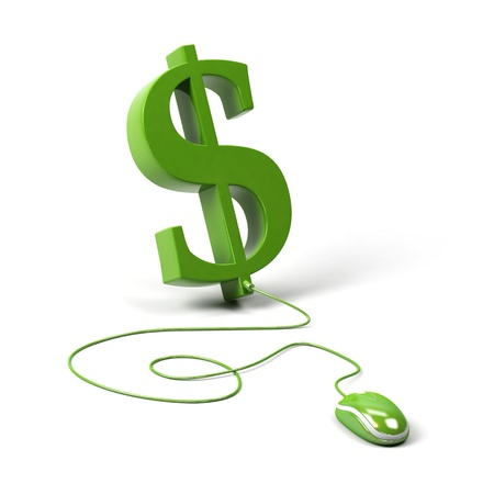 Dollar symbol connected to a computer mouse. 3d image.