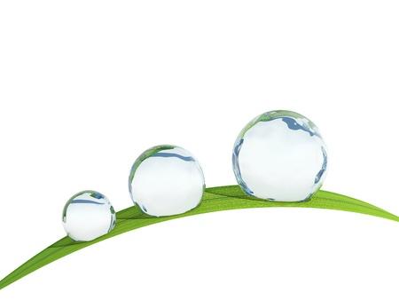waterbesparing: Waterdrop op een grassprietje. Stockfoto