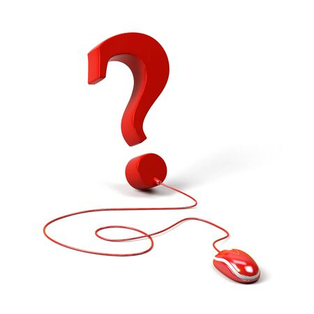 Question mark connected to a computer mouse. 3d image Stock Photo
