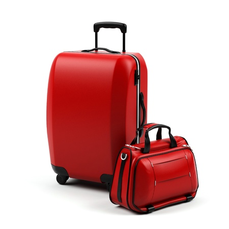 luggage airport: Suitcases isolated on a white background. Stock Photo