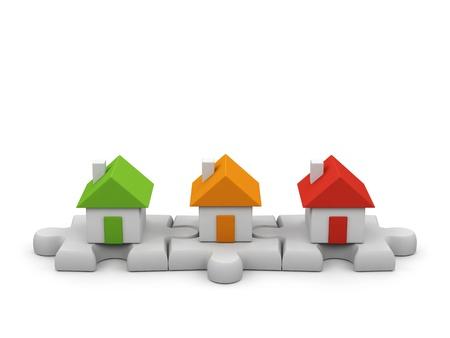 Houses - 3d render illustration on white background
