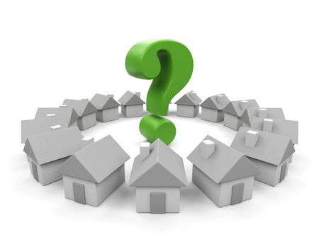 House and question  3d image  Stock Photo - 15563628