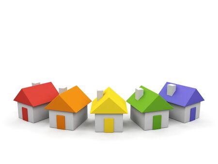 Houses - 3d render illustration on white background Stock Illustration - 15563608