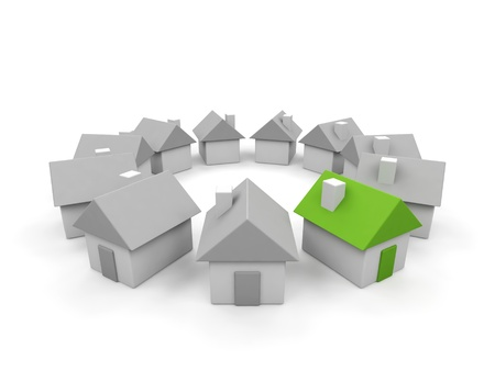 Houses - 3d render illustration on white background. Stock Photo