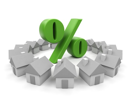 Houses and percent symbol. 3d image. Stock Photo - 15567402