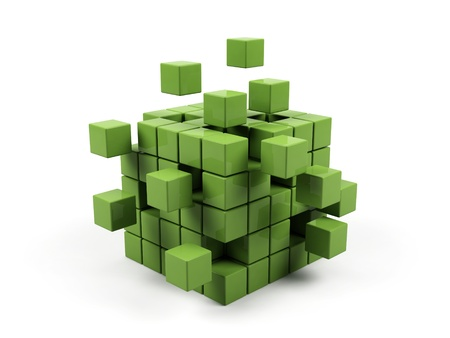 solutions: Abstract 3d illustration of cube assembling from blocks.