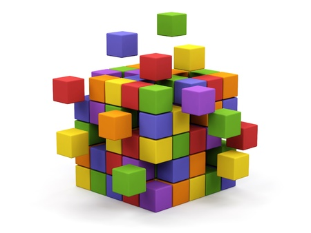 Abstract 3d illustration of cube assembling from blocks   스톡 콘텐츠