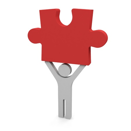 3d person holding the piece of a puzzle   Stock Photo