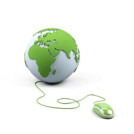 cable red: Ratones de ordenador conectado a un globo Foto de archivo