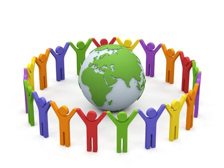 community service: World partnership. 3d image isolated on white background.