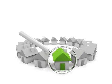 bungalow: Houses - 3d render illustration on white background. Stock Photo