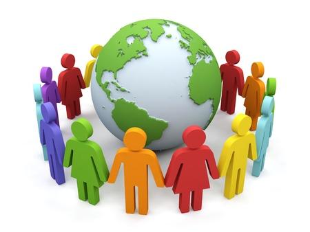 community service: World partnership. 3d image isolated on white background.