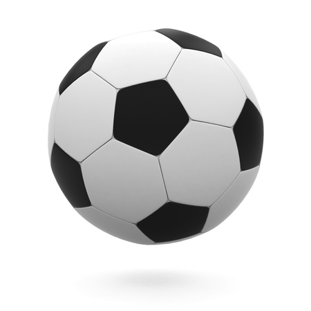 exercise ball: Soccer ball on a white background.  Stock Photo
