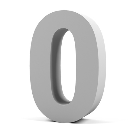 Number zero on a white background   photo