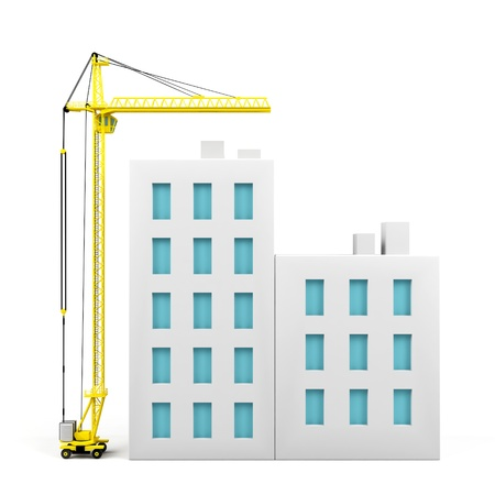 construction crane: Houses Stock Photo