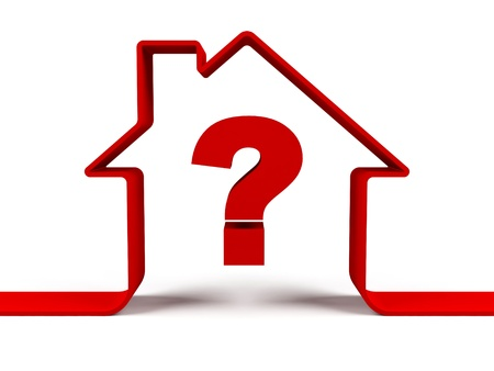 House with question mark 스톡 콘텐츠