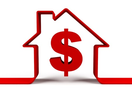 large house: House with dollar sign Stock Photo