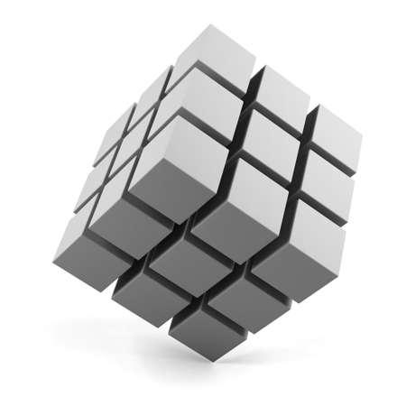 objetos cuadrados: Cubo 3d aislado en un blanco Foto de archivo