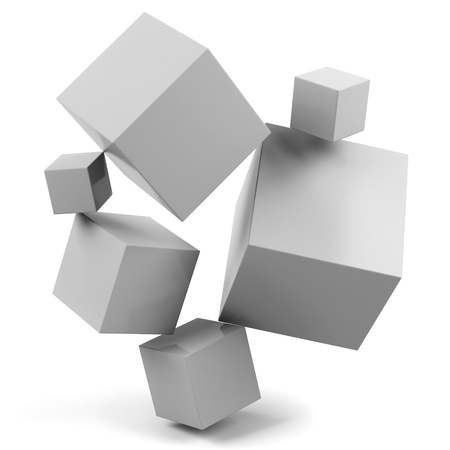 3d cubes isolated on a white  photo