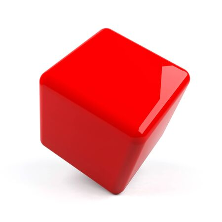 3d cube isolated. photo