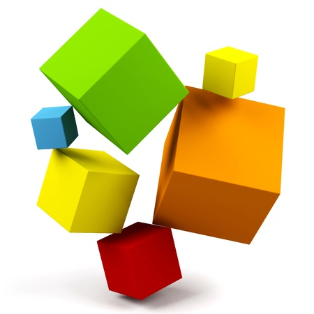 3d cubes isolated on a white